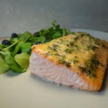 salmon al horno con miel y mostaza