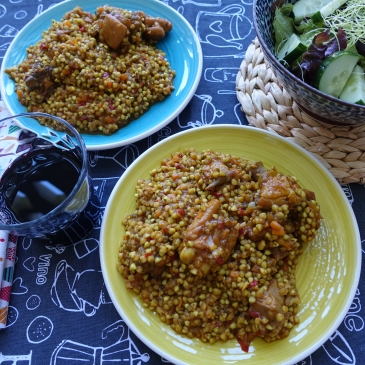 Trigo sarraceno con verduras y pollo de corral