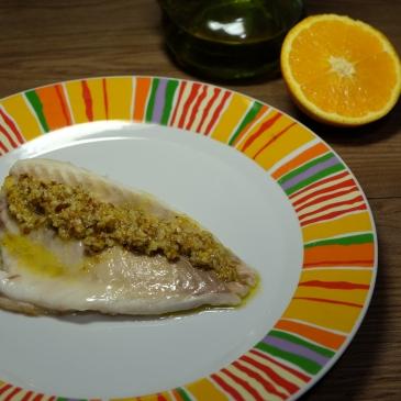 dorada rápida al horno con vinagreta de nueces y naranja