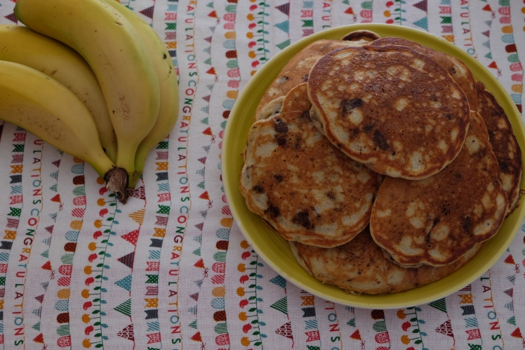 Tortitas de plátano y chocolate